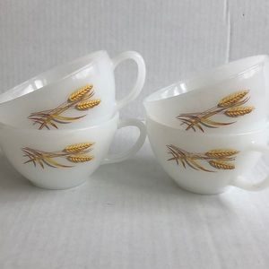 Vintage Fire King milk glass wheat coffee tea mugs